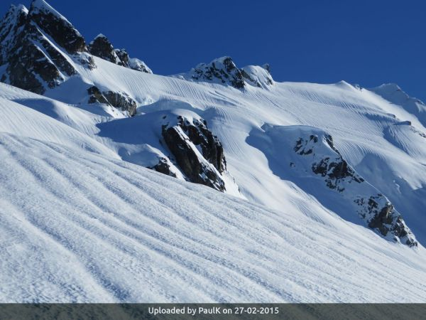 _The upper snowfield on Pelion's north side. Two standard approach routes looking pretty dubious for the conditions.