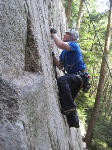 climbing a route on Commonwealth wall at Murrin Park